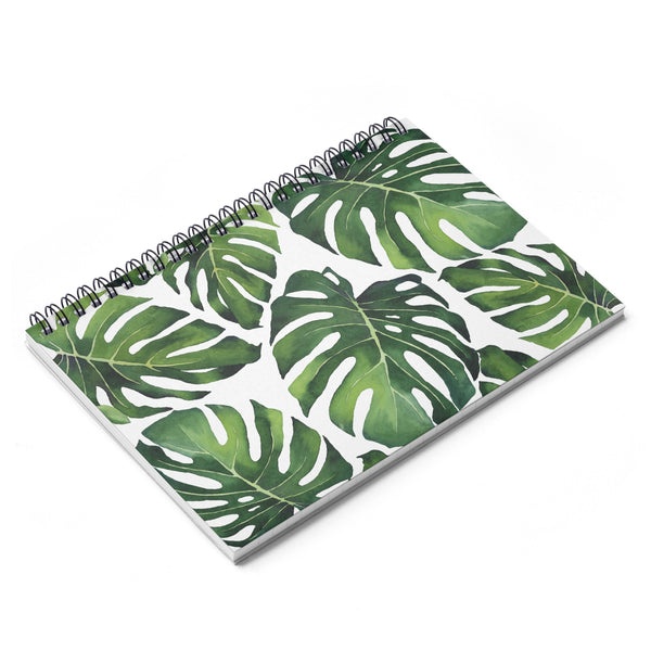 Monstera Tropical Leaf Print Spiral Notebook - Ruled Line