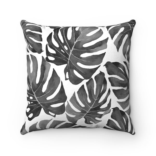Tropical Monstera Leaves All-over Pattern, Charcoal Grey & White Decorative Throw Pillow