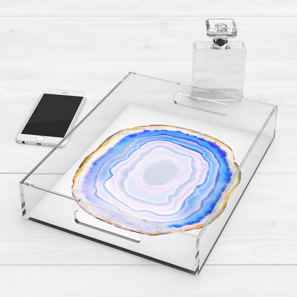 Blue & White Agate Slice Lucite Acrylic Trays, 2 Sizes