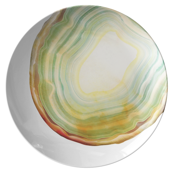 "Agate Print Dinnerware,Sage Green 10"" Plate, ThermoSāf® Polymer Resin"