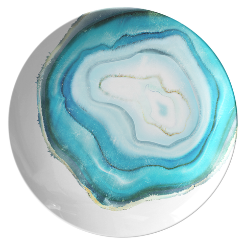 "Agate Print Dinnerware, Teal Blue 10"" Plate, ThermoSāf® Polymer Resin"