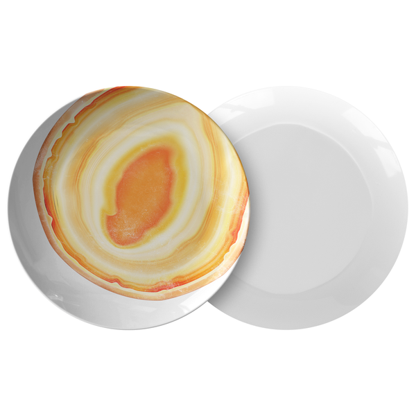 Agate Print Plates, Plastic Outdoor Dining Plates, Modern Yellow Orange
