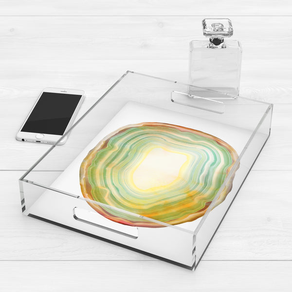 Sage Green & Yellow Agate Slice Acrylic Lucite Trays, 2 Sizes