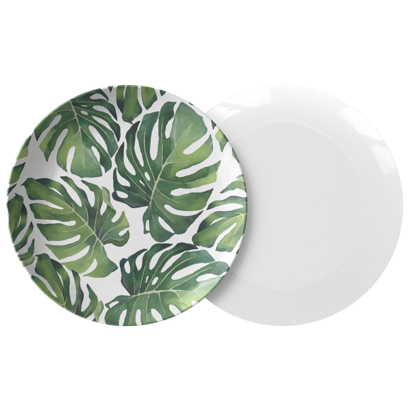 "All-Over Tropical Monstera Palm Leaves Print 10"" Dinner Plate, ThermoSāf® Polymer"