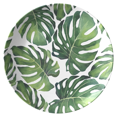 "All-Over Tropical Monstera Palm Leaves Print 10"" Plate, ThermoSāf® Polymer"