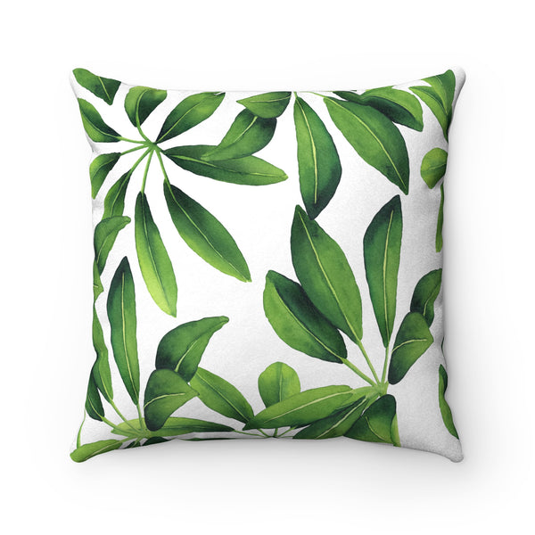 Leafy Green Faux Suede Square Pillow