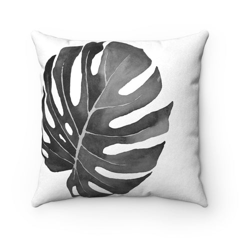 Monstera Leaf Tropical Print Pillow, Faux Suede Square Pillow, Charcoal, 3 sizes