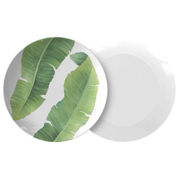 "Tropical Banana Leaf 10"" Dinner Plate, ThermoSāf® Polymer"