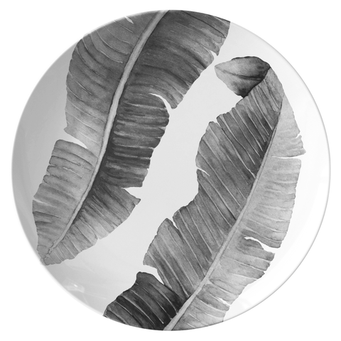 "Modern Tropical Banana Leaves 10"" Plate, ThermoSāf® Polymer, Charcoal"