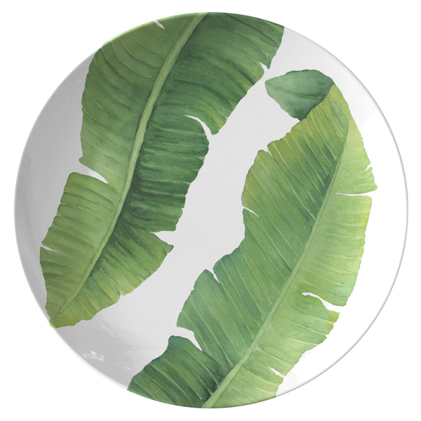 "Tropical Banana Leaves 10"" Plate, ThermoSāf® Polymer"