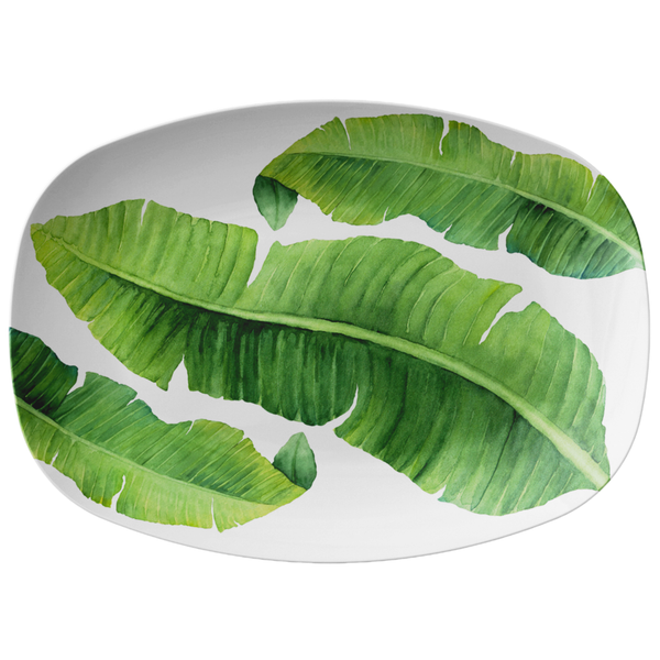 "Tropical Banana Leaf Serving Platter, 10"" x 14"", ThermoSāf® Plastic"