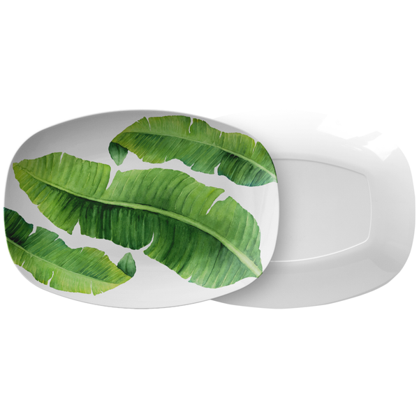 "Tropical Banana Leaves Serving Platter, 10"" x 14"", ThermoSāf® Polymer Resin"