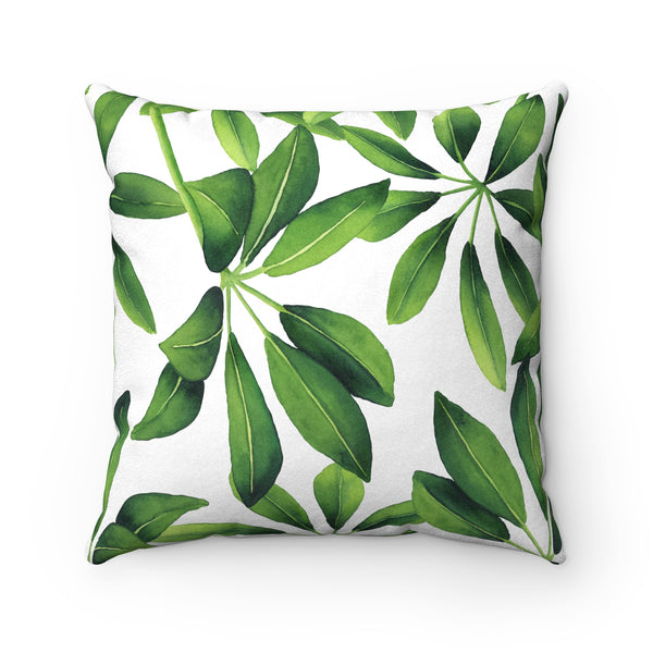 Leafy Green Faux Suede Square Pillow, 3 Sizes
