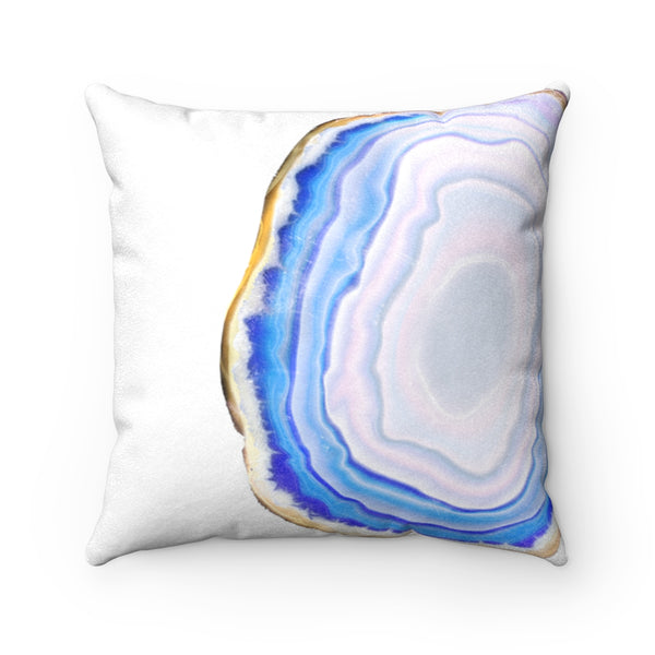 Turquoise Blue Agate Slice Print Faux Suede Square Pillow, 3 Sizes