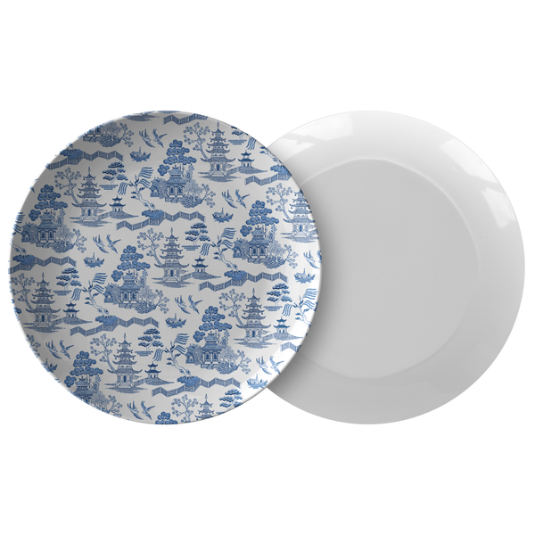 Chinoiserie Plastic Dinnerware, Blue & White