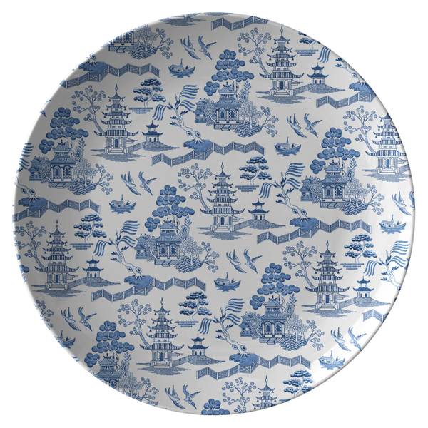 Chinoiserie Porcelain Print Dinner Plate, Asian Architecture, Blue & White