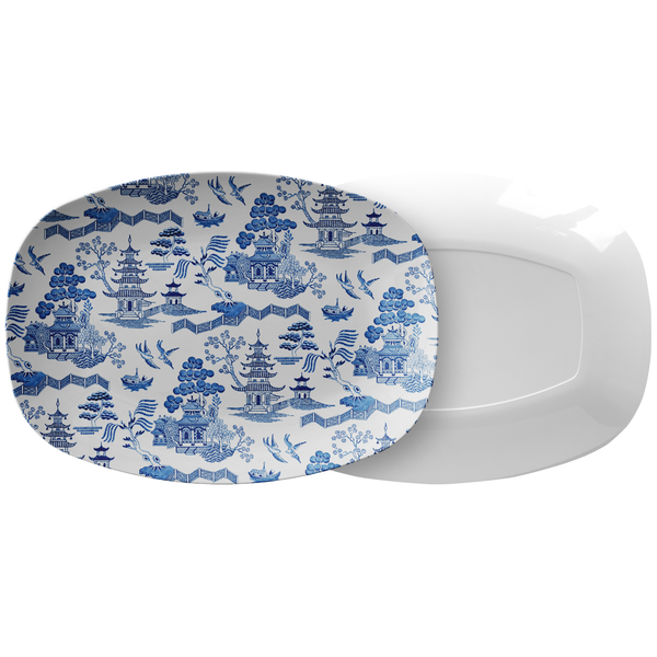 Chinoiserie Architecture Print Serving Platter, White & Blue