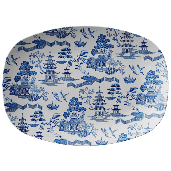 Chinoiserie Asian Architecture Porcelain Print Serving Platter, White & Blue