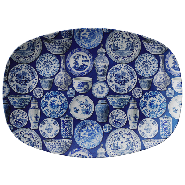 Chinoiserie Asian Pottery Print Serving Platter, Blue & White