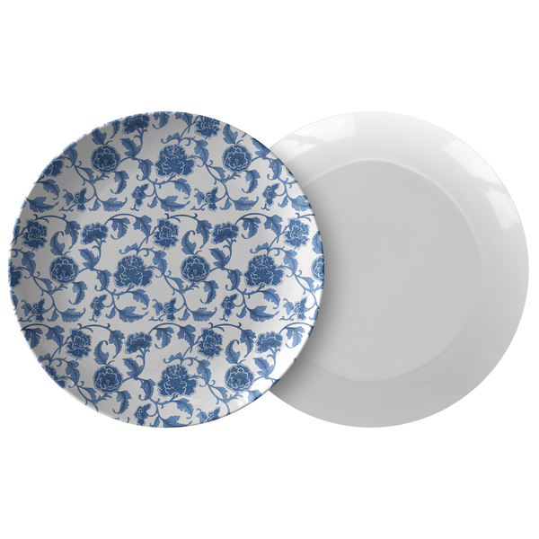 Chinoiserie Plastic Dinner Plate Blue & White