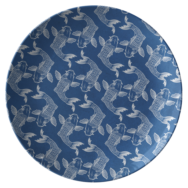 Chinoiserie Koi Fish Dinner Plate Blue & White