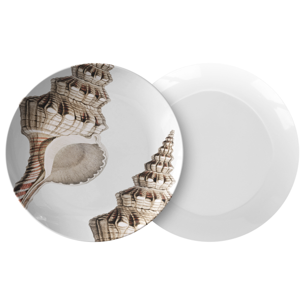 "Seashell Dinnerware, Conch Sea Shell 10"" Plate, ThermoSāf® Polymer Resin"