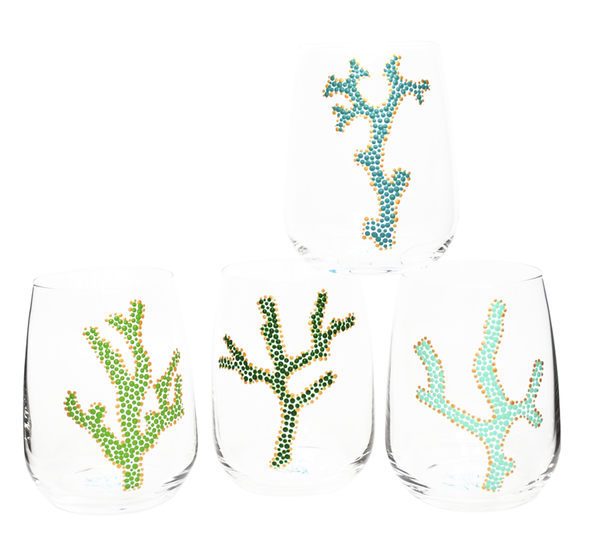 Coral Branch Glassware, Hand Painted Wine Glasses, Turquoise & Green