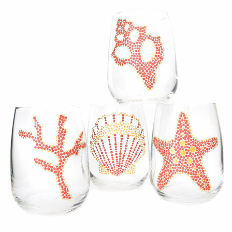 Coral Sea Motif Hand Painted Glasses