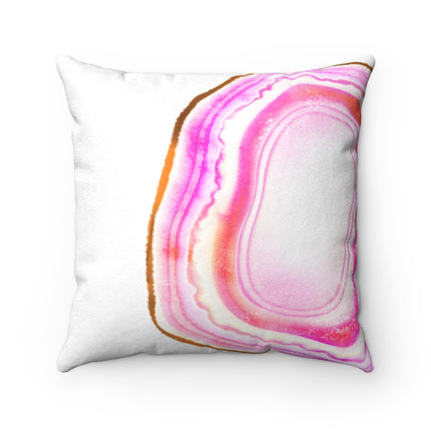 Pink Agate Slice Print Faux Suede Square Pillow, 3 Sizes
