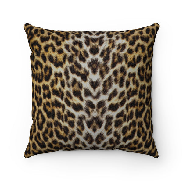 Leopard Animal Print Faux Suede Square Pillow