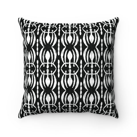 Tribal Print Black & White Faux Suede Square Pillow, 3 Sizes