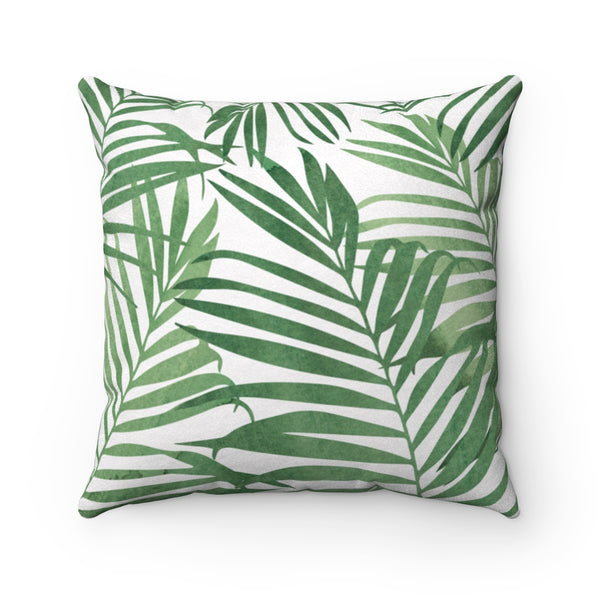 Palm Leaf Print Faux Suede Square Pillow: Green & White, 3 Sizes