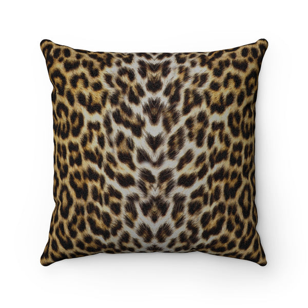 Leopard Print Faux Suede Square Pillow