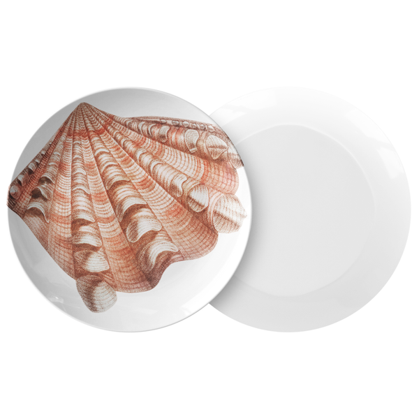 "Seashell Dinnerware, Fluted Clam Shell 10"" Plastic Plate, ThermoSāf® Polymer"