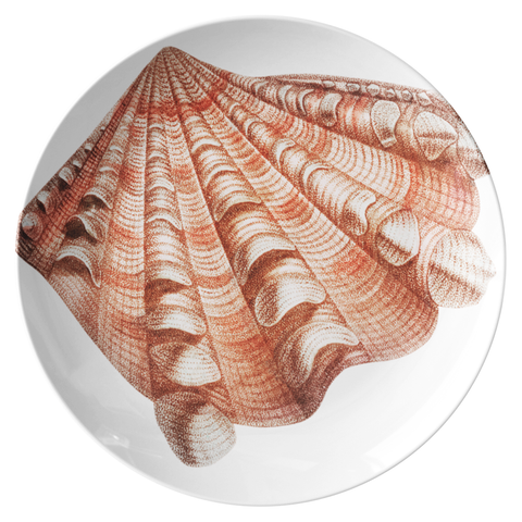 "Seashell Dinnerware, Fluted Clam Shell 10"" Plate, ThermoSāf® Polymer"