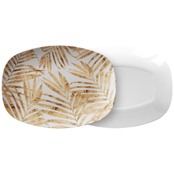 Gold & White Palm Leaves Serving Platter, Thermosaf Plastic Resin