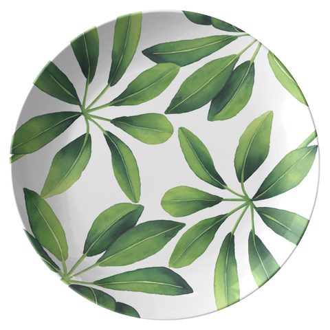 "Leafy Green Tropical Print Plate 10"", ThermoSāf® Polymer"