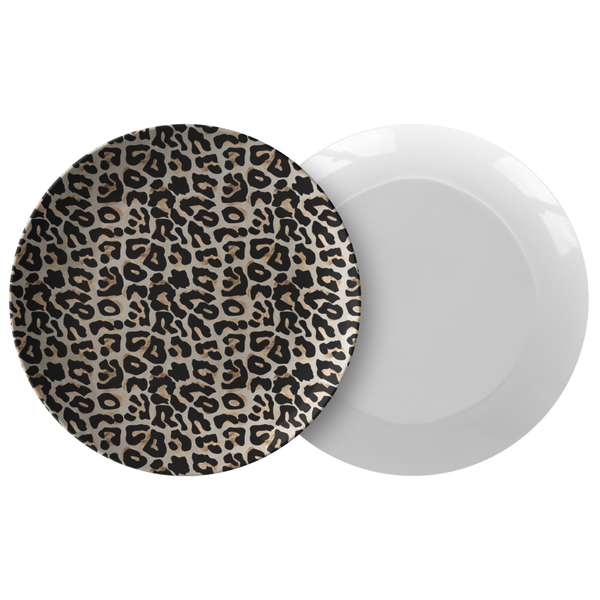 "Leopard Print 10"" Plate, Black/Gold/Tan, ThermoSāf Outdoor Dinnerware"
