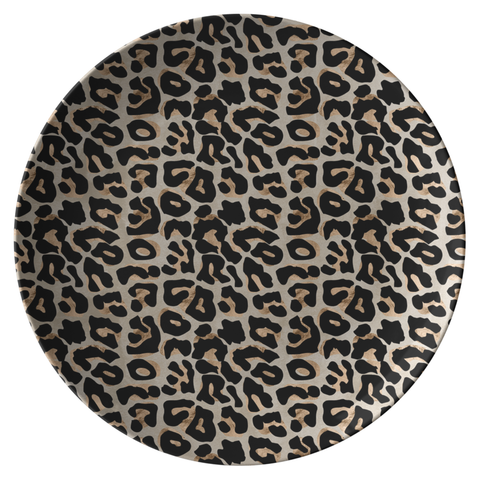 "Leopard Print 10"" Plate, Black/Gold/Tan, ThermoSāf® Plastic Dinnerware"
