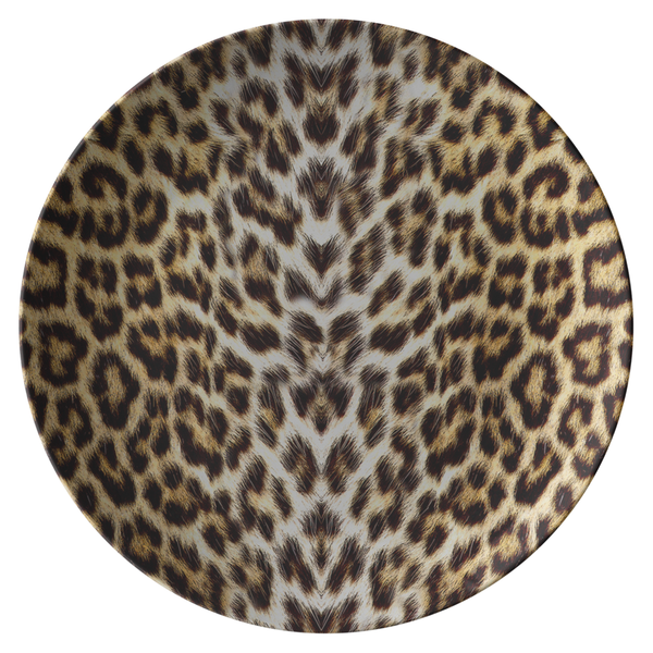 Leopard Print Dinner Plates Safe Plastic Resin