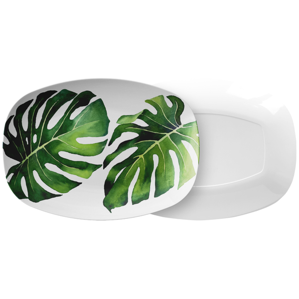 "Tropical Monstera Leaf Serving Platter, 10"" x 14"", ThermoSāf® Polymer Resin"