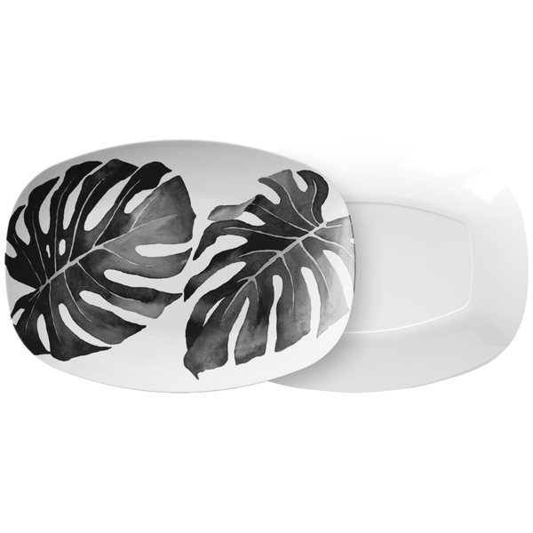 "Tropical Monstera Leaf Serving Platter, 10"" x 14"", Charcoal & White"