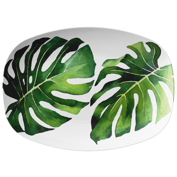 "Tropical Monstera Palm Leaf Serving Platter, 10"" x 14"", ThermoSaf Polymer Resin"
