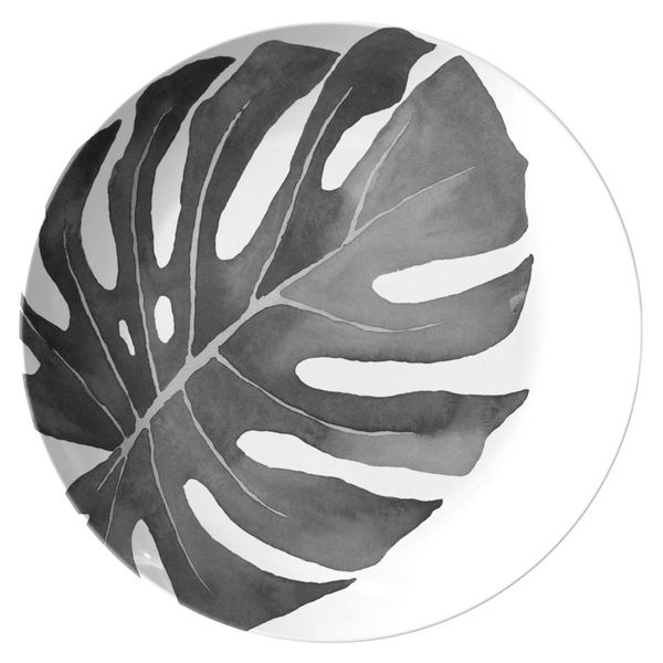 "Tropical Monstera Palm Leaf 10"" Plate, ThermoSāf® Polymer Plastic, Charcoal/White"