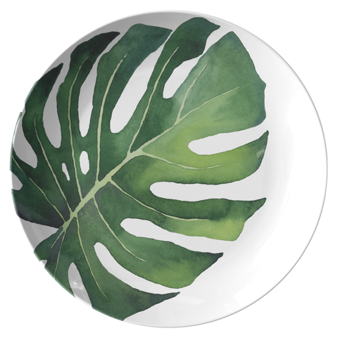 "Tropical Monstera Palm Leaf 10"" Plate, ThermoSāf® Polymer"