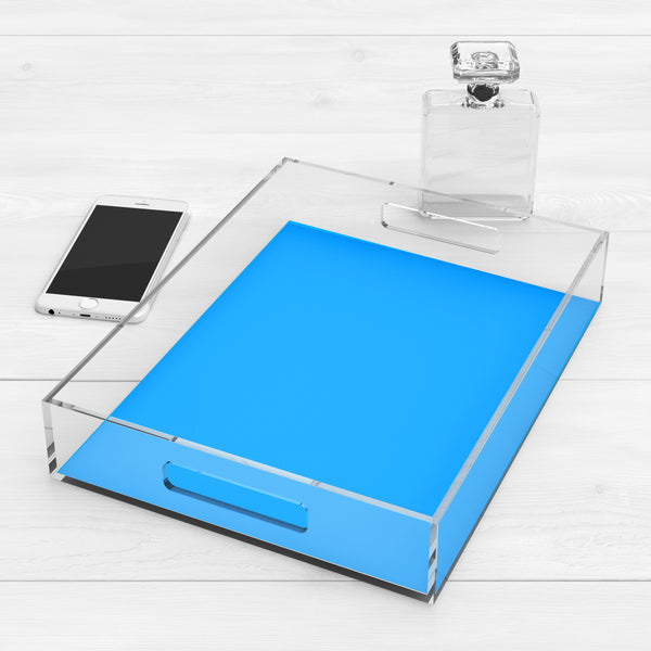 Neon Blue Lucite Acrylic Tray