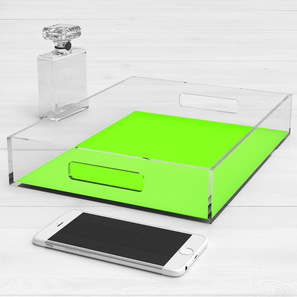 Neon Acrylic Lucite Trays, Yellow Green