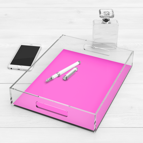 Be Fearless & Bold, Neon Acrylic Tray Pink