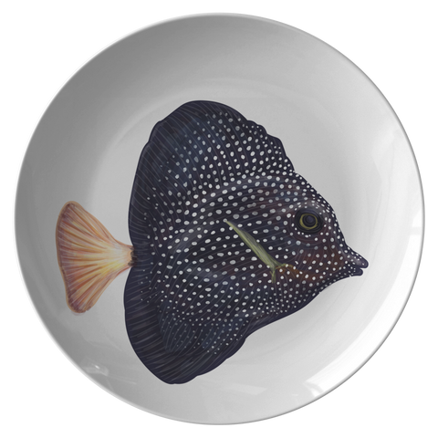 Tropical Fish Plastic Dinnerware, Black & White Spotted Fish