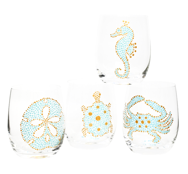 Sea Life Hand Painted Glassware S/4, Pale Turquoise/Gold